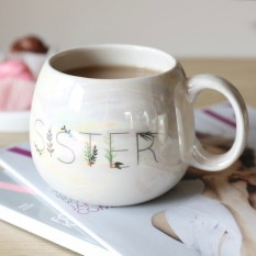 Hampers and Gifts to the UK - Send the Iridescent Floral 'Sister' Mug