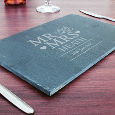 Hampers and Gifts to the UK - Send the Mr and Mrs Personalised Slate Table Mat