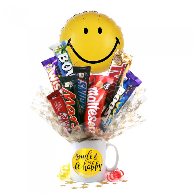 Hampers and Gifts to the UK - Send the Smile and Be Happy Chocolate Medley Bouquet In A Mug
