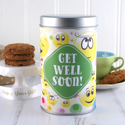 Hampers and Gifts to the UK - Send the Get Well Soon Smiley Faces Cookie Tin