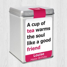 Hampers and Gifts to the UK - Send the Personalised Tea Caddy Good Friend
