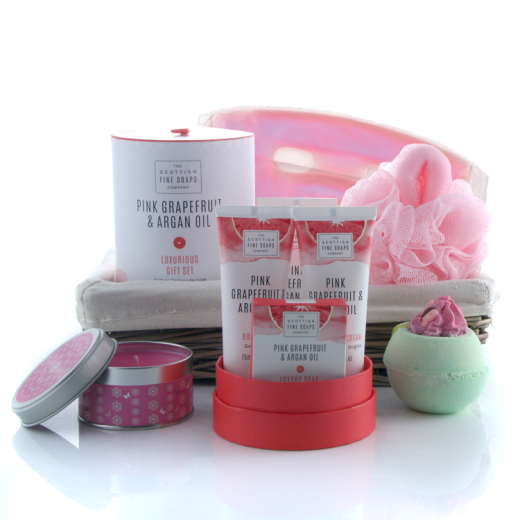 Hampers and Gifts to the UK - Send the Pink Grapefruit Pampering Gift Basket