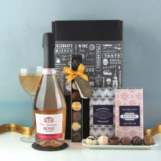 Hampers and Gifts to the UK - Send the Sparkling Rosé and Belgian Chocolate Truffles