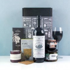 Hampers and Gifts to the UK - Send the Personalised Red Wine Cheese & Pickle Hamper