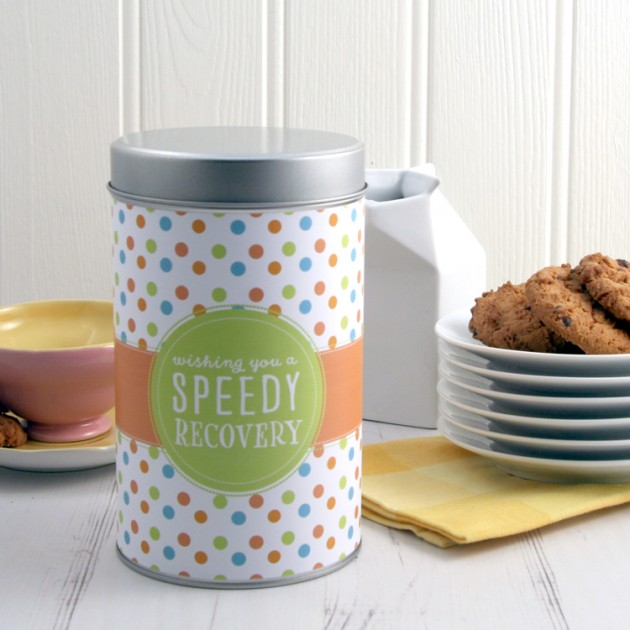 Hampers and Gifts to the UK - Send the Wishing You A Speedy Recovery Tin with a Dozen Cookies