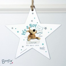 Hampers and Gifts to the UK - Send the Personalised It's a Boy Wooden Star Decoration - Boofle