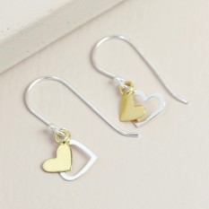 Hampers and Gifts to the UK - Send the Sterling Silver Double Heart Drop Earrings