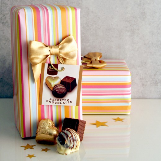 Hampers and Gifts to the UK - Send the Multi Stripe Chocolate Ballotin