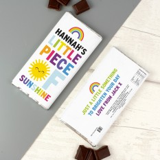 Hampers and Gifts to the UK - Send the Personalised Rainbow Sunshine Chocolate Bar