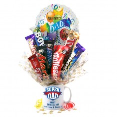 Hampers and Gifts to the UK - Send the Super Dad Chocolate Medley Bouquet In A Mug