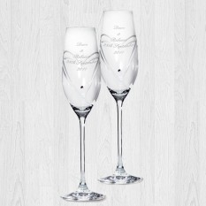 Hampers and Gifts to the UK - Send the Personalised Swarovski Heart Champagne Flutes