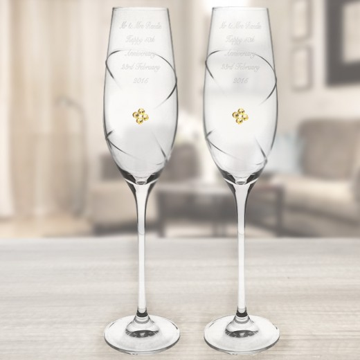 Hampers and Gifts to the UK - Send the Personalised Pair of Infinity Flutes with Gold Swarovski Elements