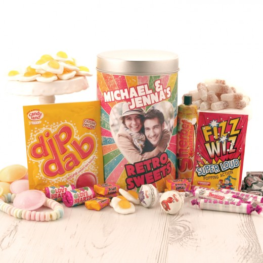Hampers and Gifts to the UK - Send the Photo Feature Couple's Retro Sweets Tin