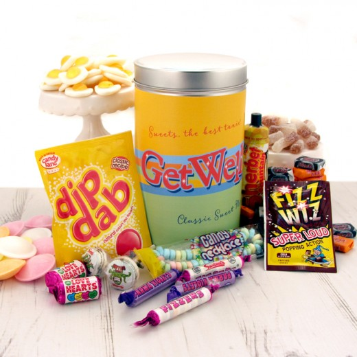 Hampers and Gifts to the UK - Send the Retro Sweets Gift Tin Get Well