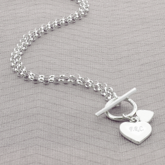 Hampers and Gifts to the UK - Send the Personalised Hearts T-Bar Necklace