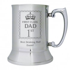 Hampers and Gifts to the UK - Send the  Personalised 1st Class Any Name Stainless Steel Tankard