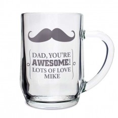 Hampers and Gifts to the UK - Send the Personalised Any Message Moustache Glass Tankard
