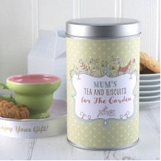 Hampers and Gifts to the UK - Send the Any Name Tea and Biscuits For The Garden Tin