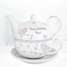 Hampers and Gifts to the UK - Send the Personalised Floral Birds Tea For One