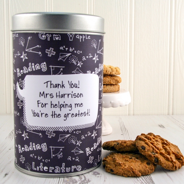 Hampers and Gifts to the UK - Send the Teacher's Thank You Tin with a Dozen Cookies