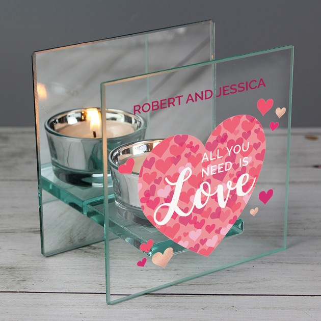 Hampers and Gifts to the UK - Send the Personalised All You Need is Love Glass Tea Light Candle Holder