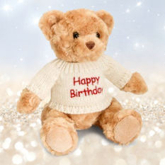Hampers and Gifts to the UK - Send the Birthday Bear in Knitted Jumper