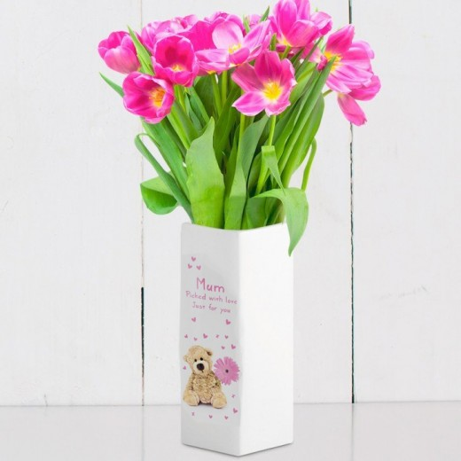 Hampers and Gifts to the UK - Send the Personalised Teddy Flower White Square Vase