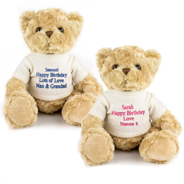 Hampers and Gifts to the UK - Send the Personalised Teddy Bear - Pink or Blue