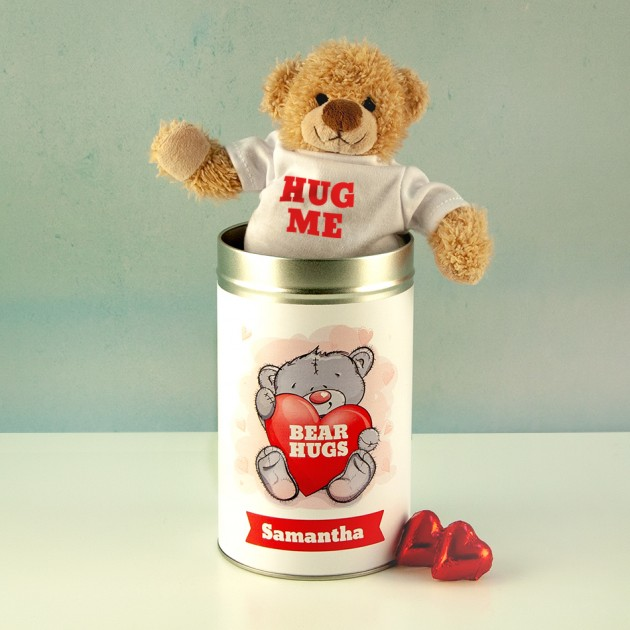 Hampers and Gifts to the UK - Send the Personalised Bear Hugs Teddy In A Tin