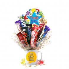 Hampers and Gifts to the UK - Send the Thank You Big Hug Chocolate Medley Bouquet In A Mug