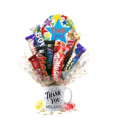 Hampers and Gifts to the UK - Send the Personalised Thank You Chocolate Mug Bouquet