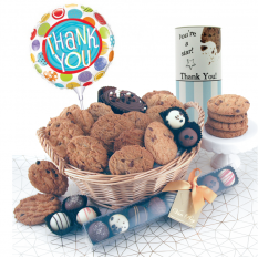 Hampers and Gifts to the UK - Send the Thank You Luxury Chocolates and Cookies Gift Basket