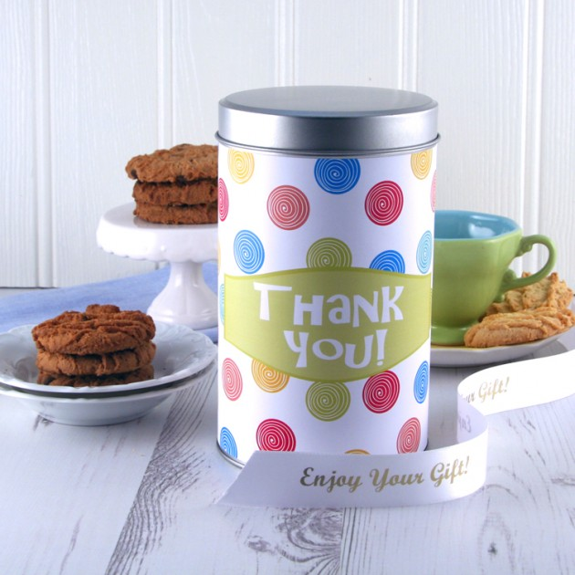 Hampers and Gifts to the UK - Send the Thank You Cookies Tin with a Dozen Cookies