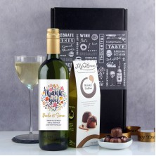 Personalised Thank You Flowers Wine Gift