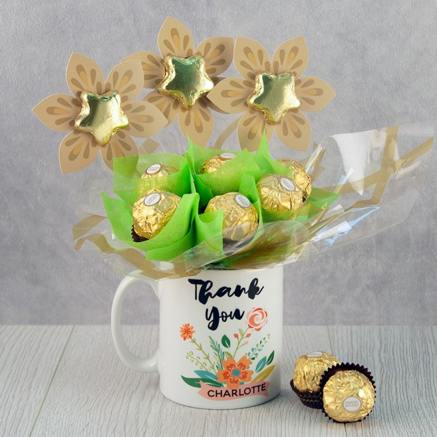 Hampers and Gifts to the UK - Send the A Personalised Thank You Floral Mug Bouquet