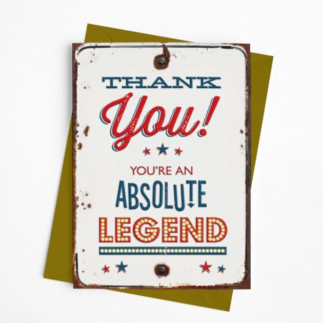 Hampers and Gifts to the UK - Send the Absolute Legend Thank You Card