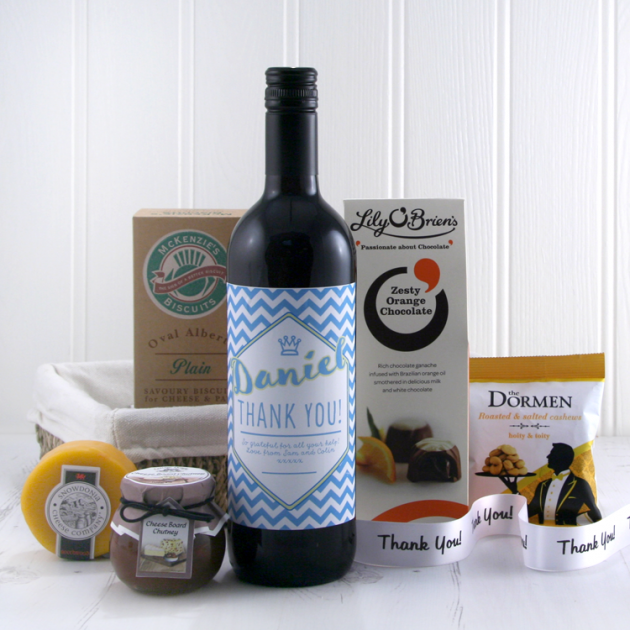 Hampers and Gifts to the UK - Send the Say it with Wine Thank You Gift Basket