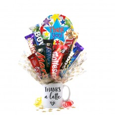 Hampers and Gifts to the UK - Send the Thanks a Latte Chocolate Medley Bouquet In A Mug