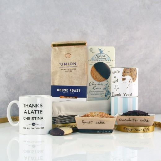 Hampers and Gifts to the UK - Send the Thanks a Latte Personalised Hamper