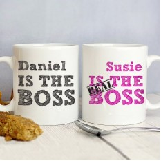 Hampers and Gifts to the UK - Send the Personalised The Real Boss Mug Set