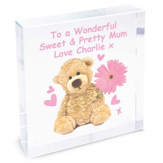 Hampers and Gifts to the UK - Send the Personalised Teddy Flower Large Crystal Token