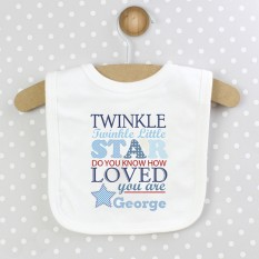 Hampers and Gifts to the UK - Send the Personalised Twinkle Boys 0-3 Months Baby Bib