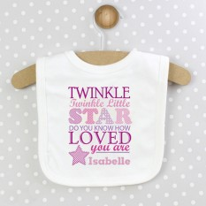 Hampers and Gifts to the UK - Send the Personalised Twinkle Girls 0-3 Months Baby Bib