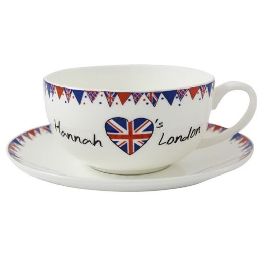Hampers and Gifts to the UK - Send the Personalised Union Jack Teacup and Saucer