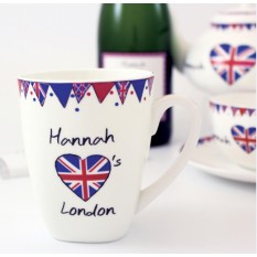 Hampers and Gifts to the UK - Send the Personalised Union Jack Latte Mug
