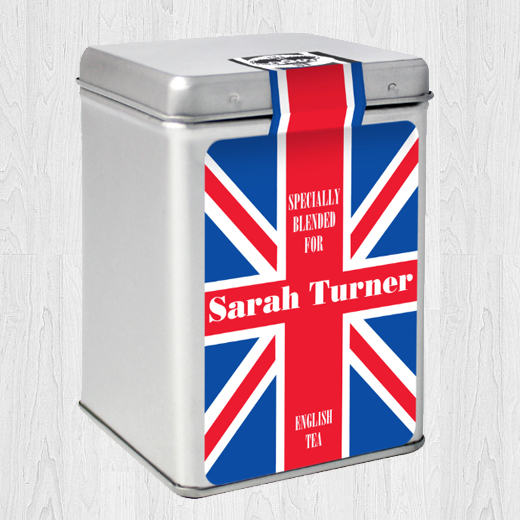 Hampers and Gifts to the UK - Send the Personalised Tea Caddy Union Jack
