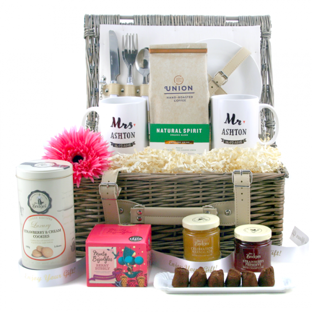 Hampers and Gifts to the UK - Send the Union Wedding Hamper with Personalised Mr and Mrs Mugs