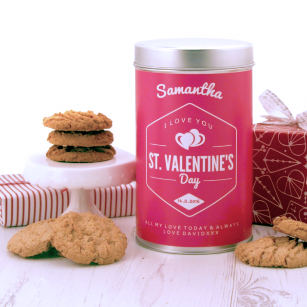 Hampers and Gifts to the UK - Send the Personalised I Love You Tin with a Dozen Cookies