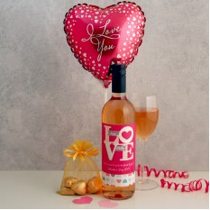 Hampers and Gifts to the UK - Send the Personalised I Love You Wine Chocolates and Balloon
