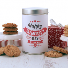 Hampers and Gifts to the UK - Send the Happy Valentine's Day Tin with a Dozen Cookies